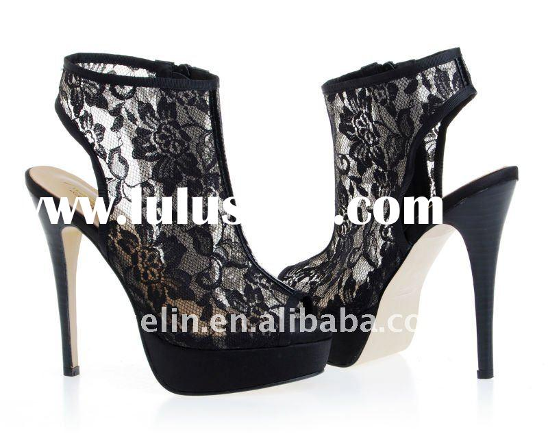 black lace fashion boots high heel with peep toe