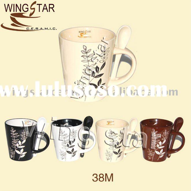 ceramic mug with spoon 38M