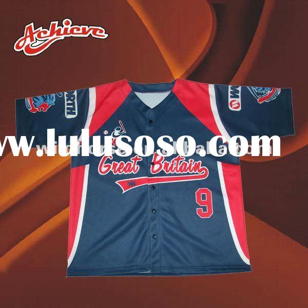 custom sublimated baseball button shirt