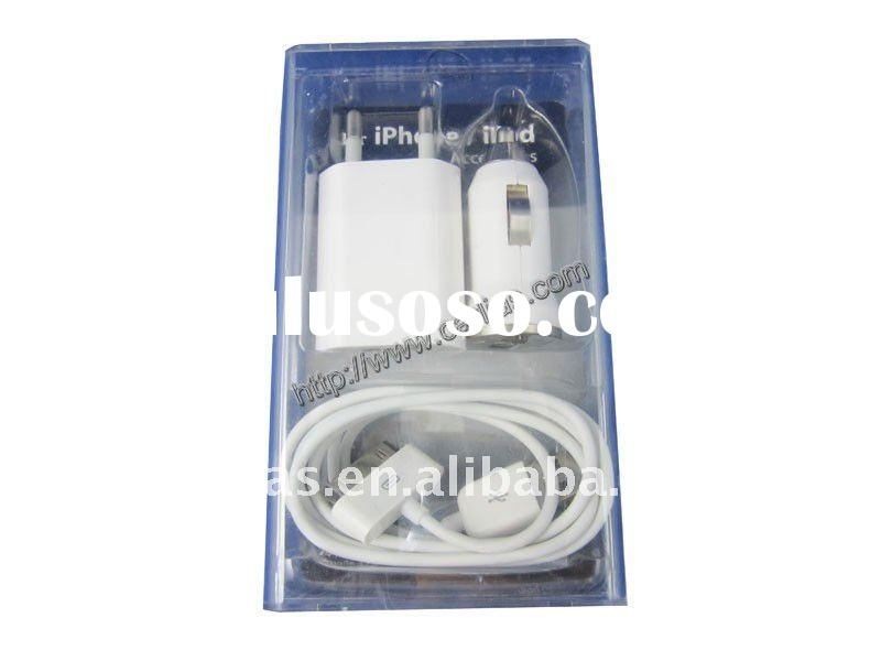 for iPhone EU 3 in 1 charger kit : Travel Charger + Car Charger + USB Cable