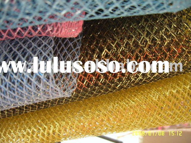 glimmer tulle ,glitter tulle with metallic fish net on roll,metallic net metallic fish net mesh fabr