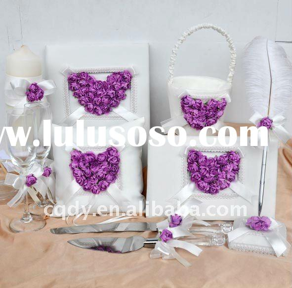 love heart perple flower wedding decoration/lovely ring pillow/guest book/candle/knife/wedding suppl