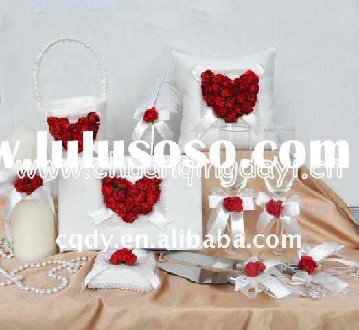 love heart red flower wedding decoration/lovely ring pillow/guest book/candle/knife/wedding supply/w