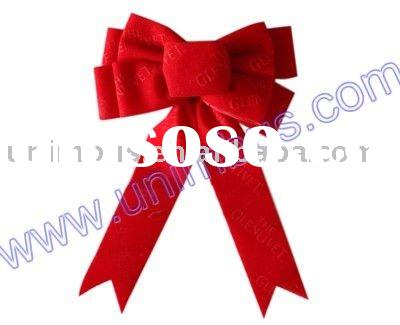 red christmas decoration velvet ribbon bow with self adhesive