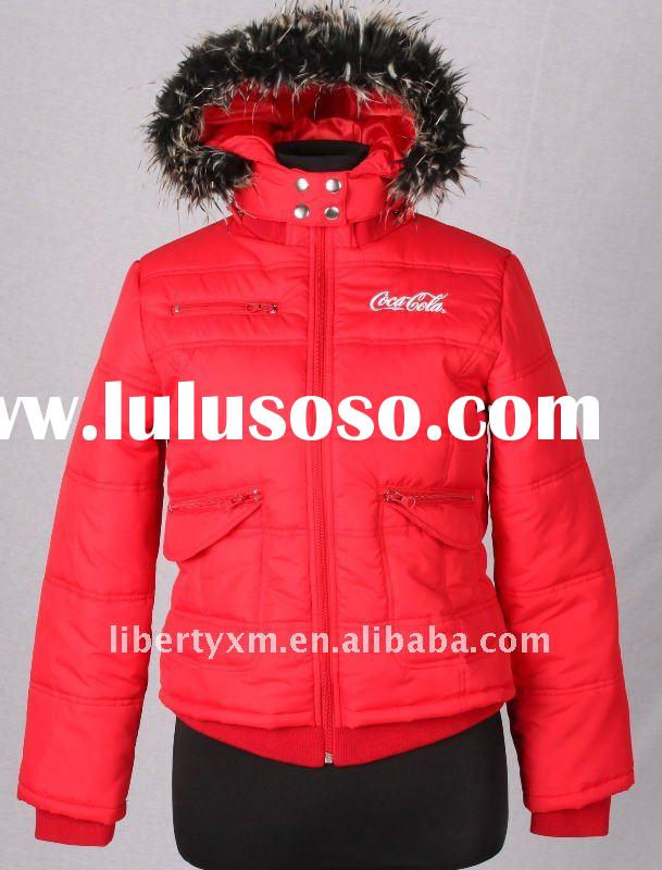 red padded jackets quilted with interior rib trim detachable hood