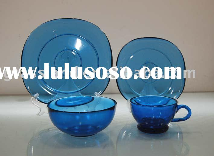 set of blue color glass plate & bowl