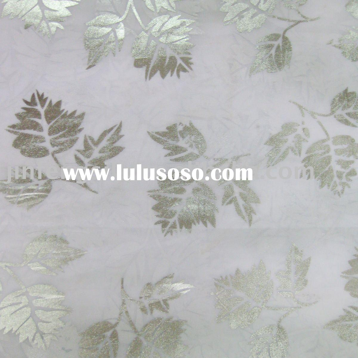 silver print polyester voile curtain fabric