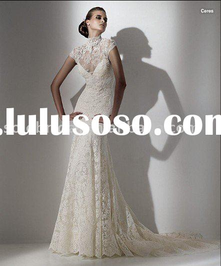 so7 lace short sleeves wedding dress