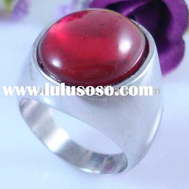 stainless steel big stone ring