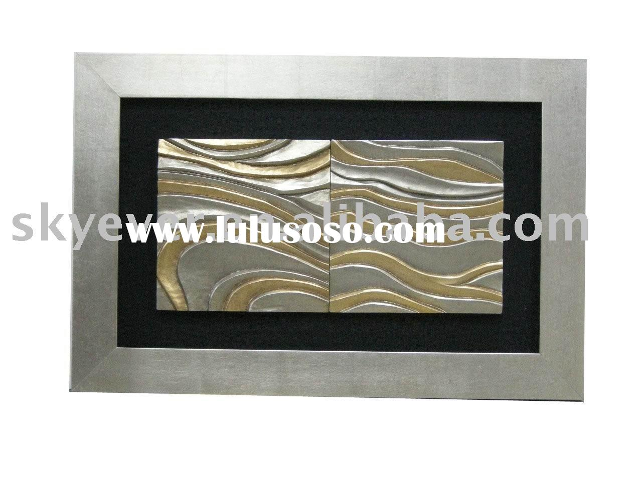 wall decoration made of framed wood carving shadow box