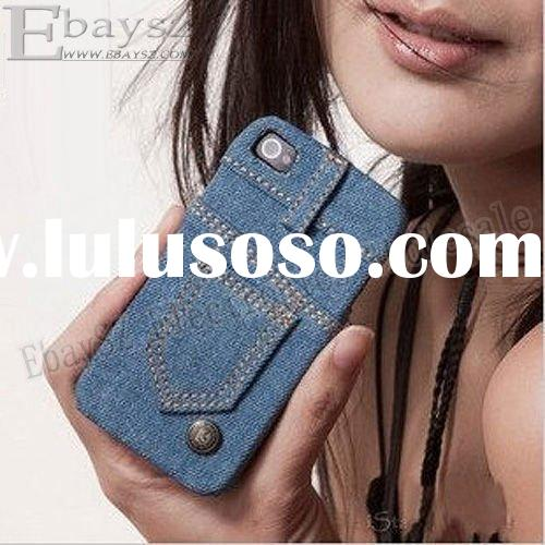 wallet jeans case for iphone4 New Stylish Jeans Protective cover case for Apple iPhone 4 4G IP-498
