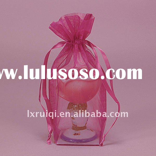 wholesale hot pink square cardboard bottom sheer organza bags