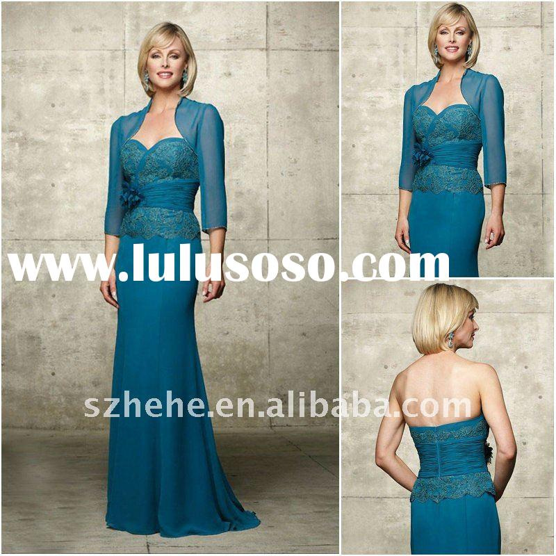 wholesale size 2 4 6 8 12 14 16 18 20 24 26 28 chiffon long mother bride dress with jacket
