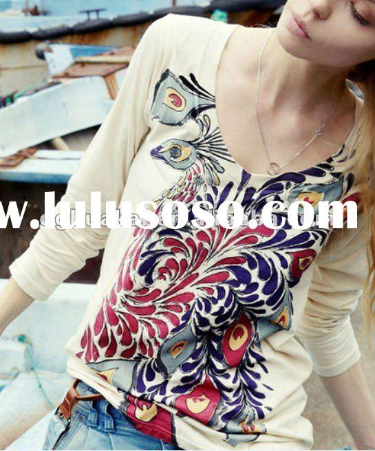 100% cotton long sleeve lady blouses with printing