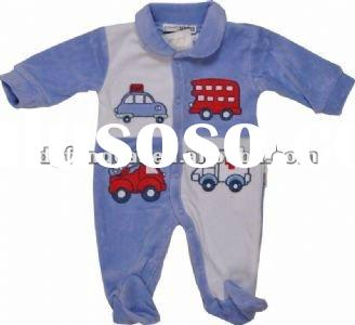 100% cotton velour long sleeve funny baby clothes supplier with printing