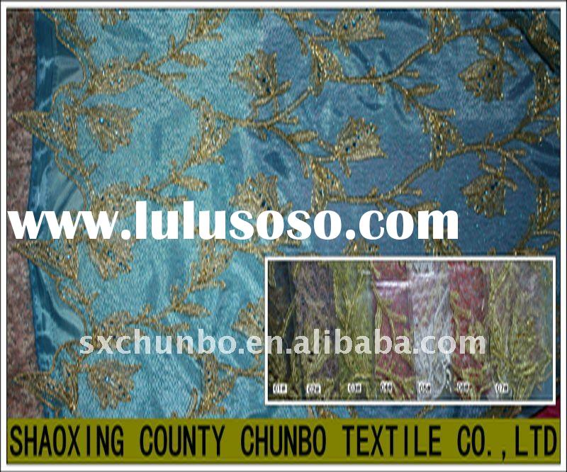 100% polyester mesh fabric and ribbon rose flower embroidery fabric
