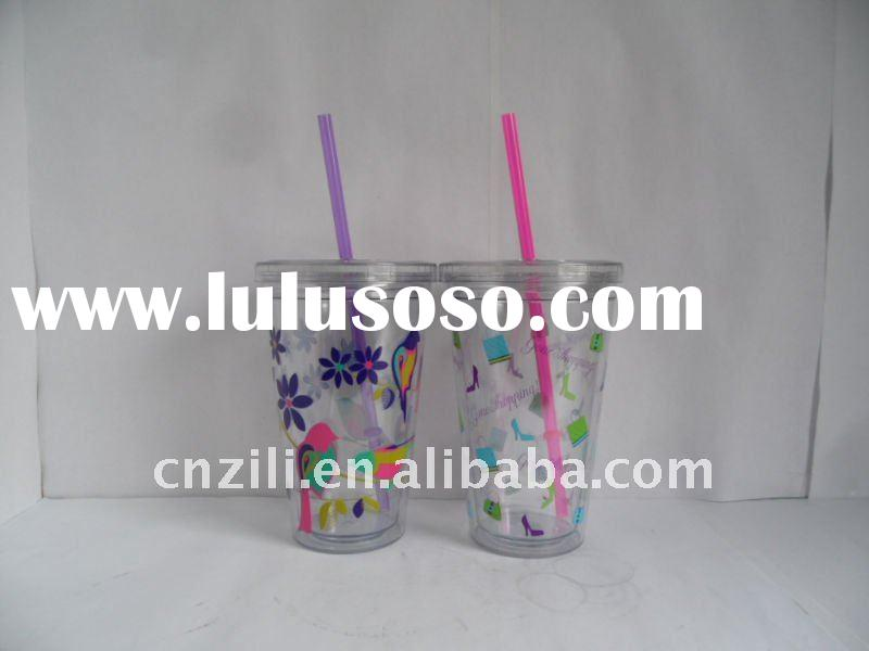 16oz double wall plastic travel Mug with straw