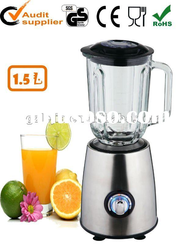 1.5L Glass Jar Stainless Steel Housing Fruit Blender 600W Stainless Steel Housing