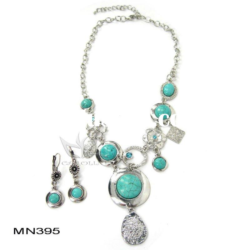 2011 Fashion Natural Stone Necklace turquoise jewelry sets