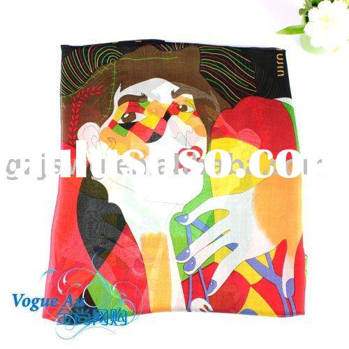 2011 New Arrival Brand Designer Real silk Scarf with a beautiful young fashion lady