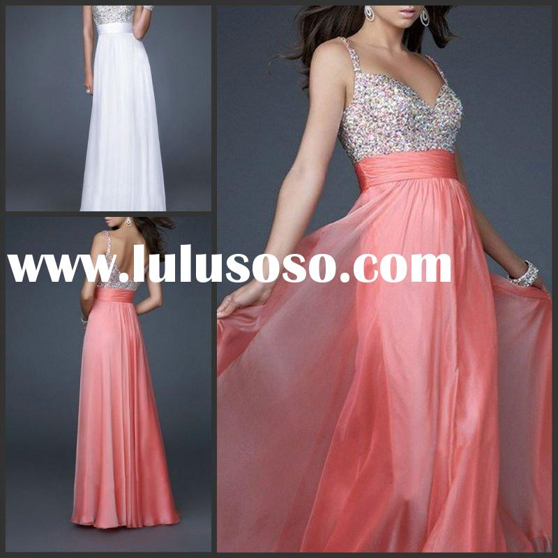 2012 Beautiful spaghetti strap beaded empire waist long evening dress YS-1875