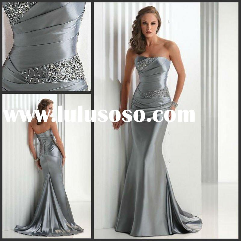 2012 Graceful Strapless Sweetheart Neckline Beaded Ruched Sheath Evening Dress YS-0213