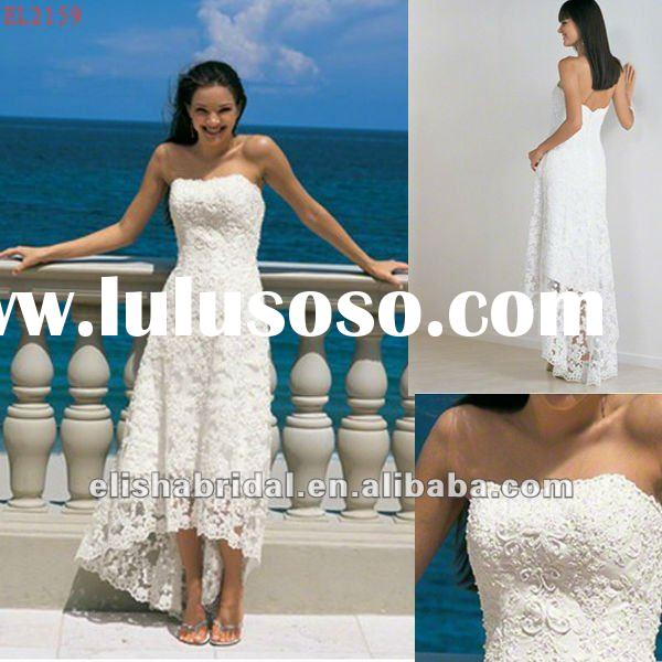 2012 Hot Strapless Lace Coverlay Front Short And Long Back Wedding Dress