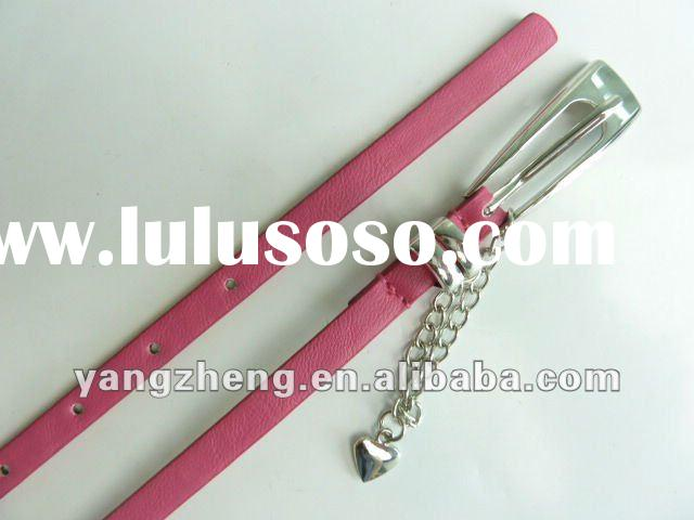 2012 hot sell lady skinny belt with chian heart pendant