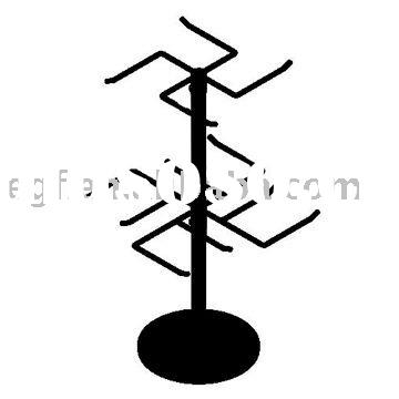 2 Tier Rotating Counter Top Hook Display Stand with Weighted Base