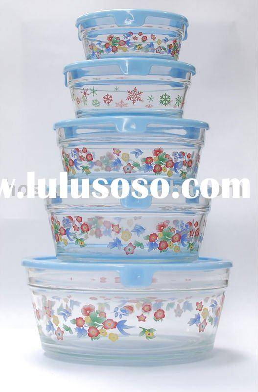 5pcs glass food bowl with lid