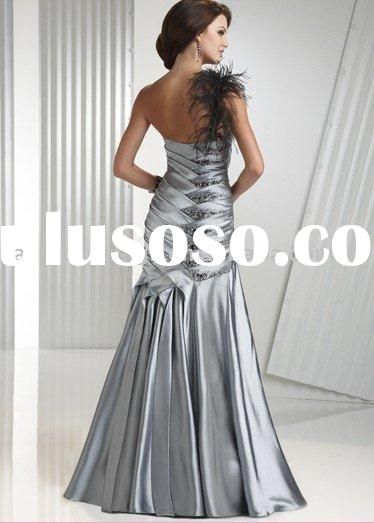 AYP189 Latest hot selling one shoulder black feather with silver prom dresses
