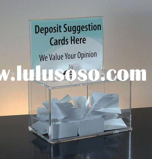 Acrylic Suggestion/Donation/Ballot Box with Sign Holder
