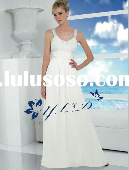 Beach casual pleated chiffon scoop neckline with double straps A-line wedding dress
