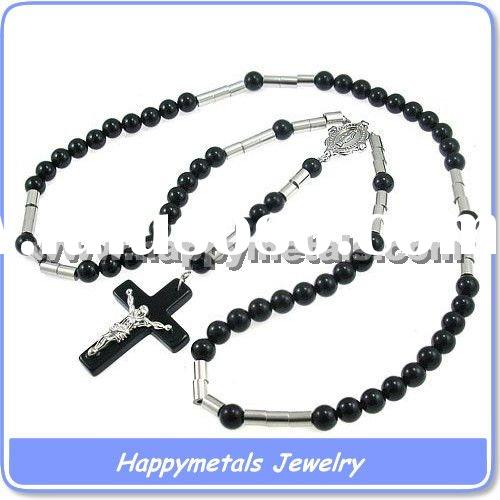 Black fashion stainless steel pearl jewelry necklaces(N5707)
