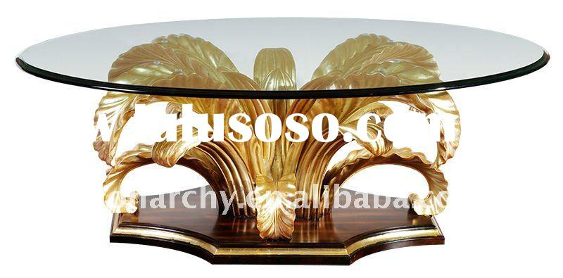 CJ098-1 2011 elegant solid wood hand carving classical glass coffee table