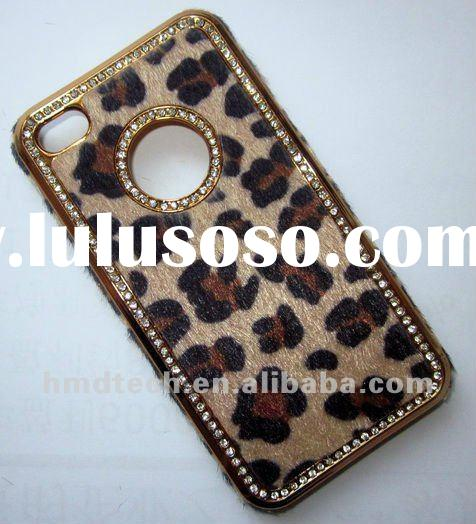 Chrome Leopard Print Leather Phone Case for iPhone 4 4S with crystal Cell phone case