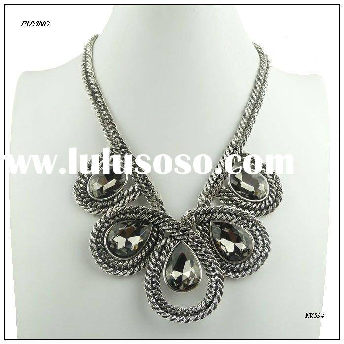 Chunky Glass Alloy Lady Costume Necklace,Fashion Order Jewelry