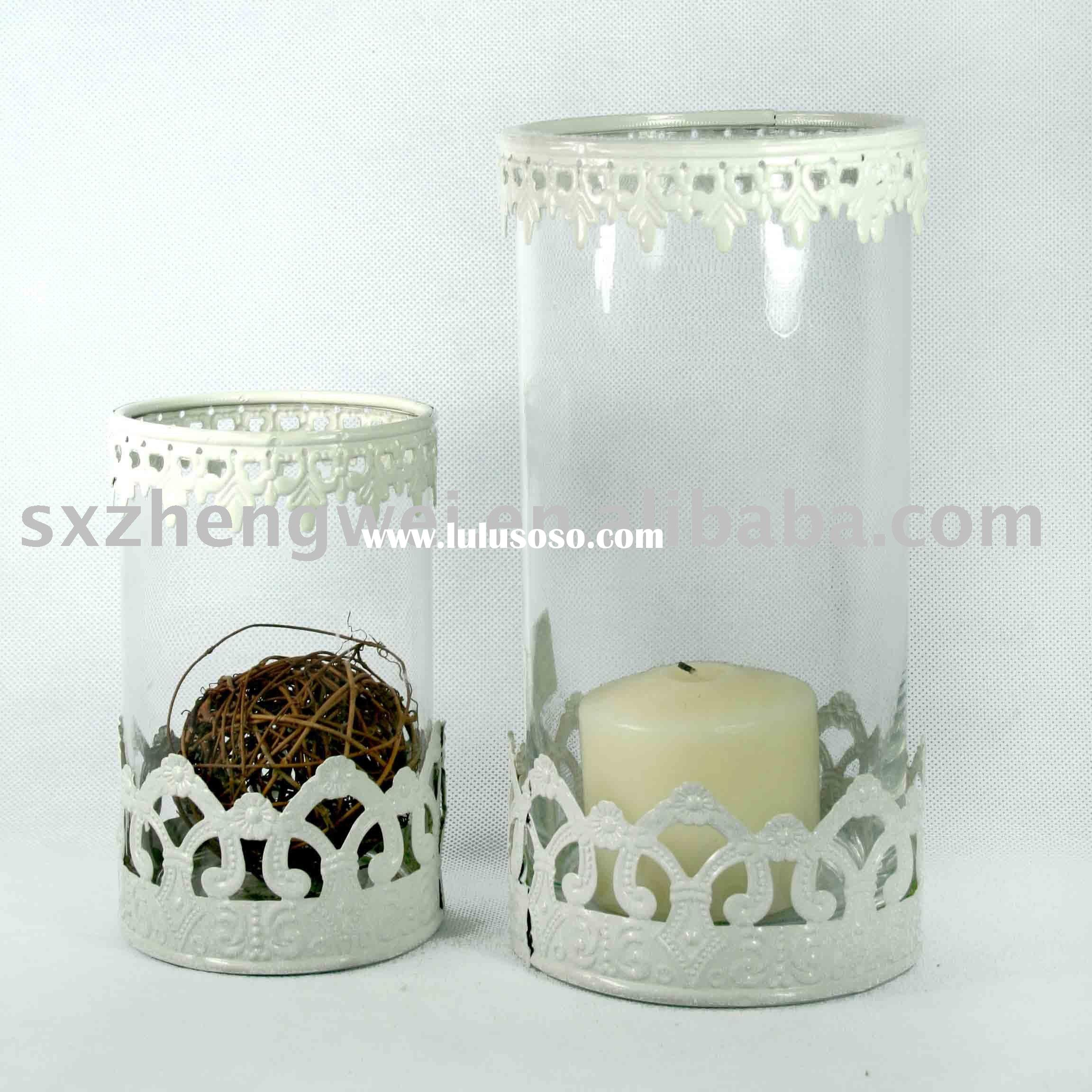 Clear Glass Hurricane Candle Holder in Antique Style with Metal Decoration