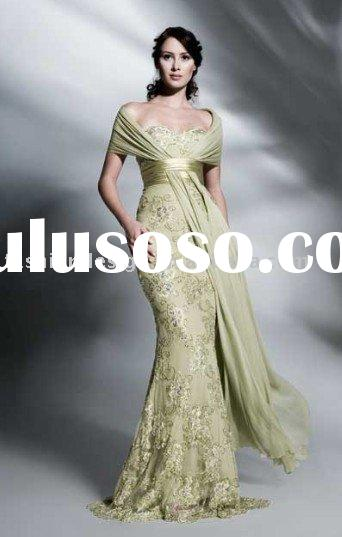 ES244 Elegant off shoulder embroidery lace with chiffon shawl evening dress