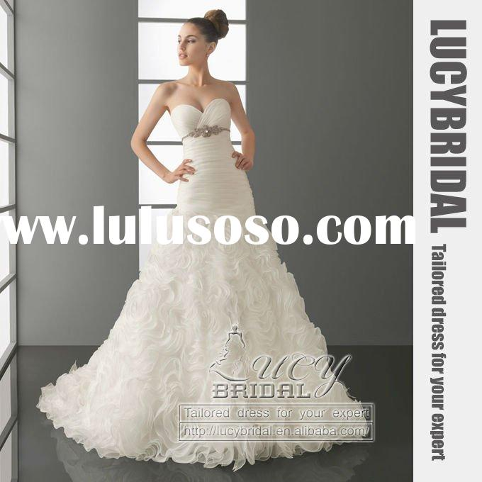 Elegant Latest Sweet-Heart Ruffle Organza Beaded Rose Wedding Dress HS2684