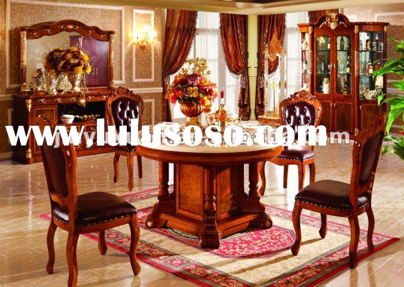 European New Classical Dining Table with Leather Dining Chairs T205C#