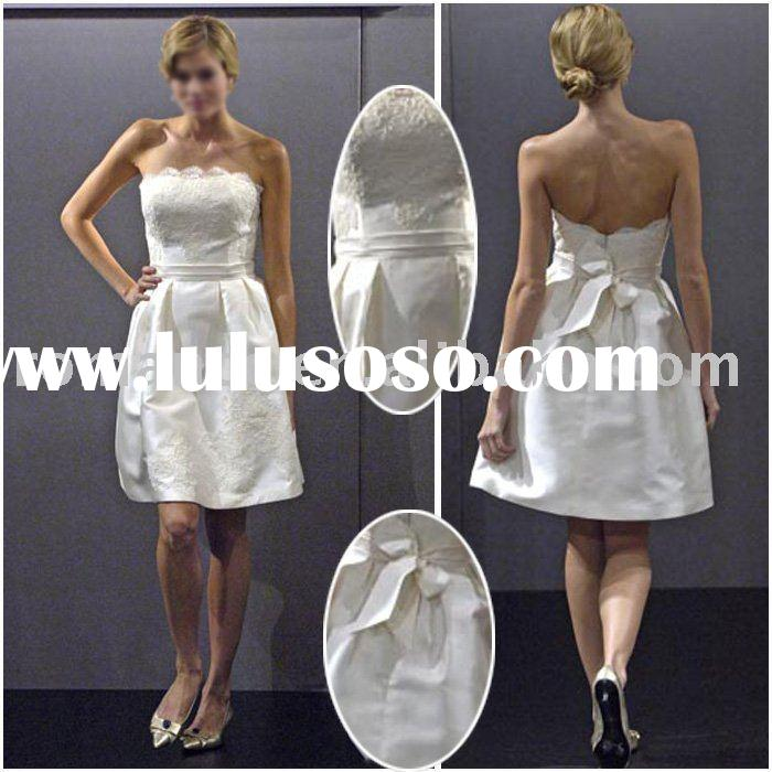 Fashion Strapless Lace and Satin Wedding Dress(TXT000018)