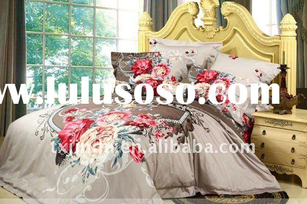 Fashion bedding set with peony printed bed sheets