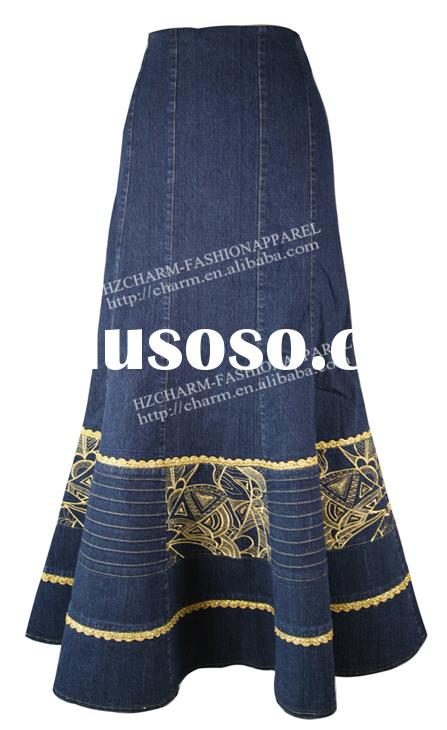 Fit And Flare Denim Long Skirt