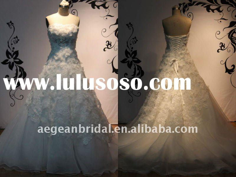 Gorgeous princess strapless organza flowers lace appliqued&crystal beaded wedding dress ZS-a0211