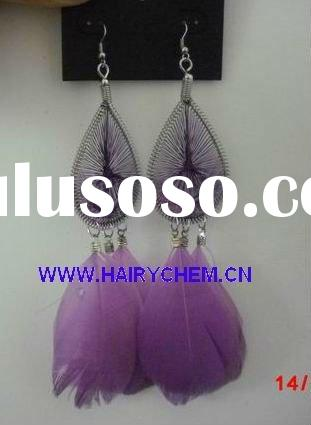 Hot sale fashion long feather earrings (HC-1030-5), Paypal