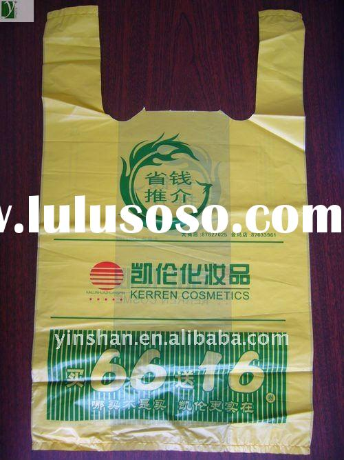 Hot sales T-shirt Handle PE Cosmetic packing bag