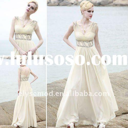 Incredible V-neck Light Yellow Chiffon Empire Beaded Evening Dresses by Designers