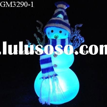 LED light christmas snowman figurine with scarf and hat in different colors