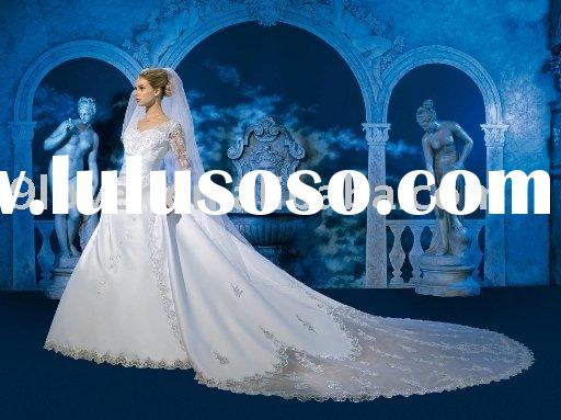 Lace Long Sleeves and Detachable Train WD367 Latest Wedding Bridal Gowns